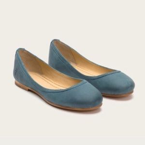 Frye Carson Ballet Flats Teal Blue Green Leather
